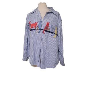 Vintage Two Twenty 18w Button Front Shirt Top Long Sleeve Woman Cats 189151. Dim